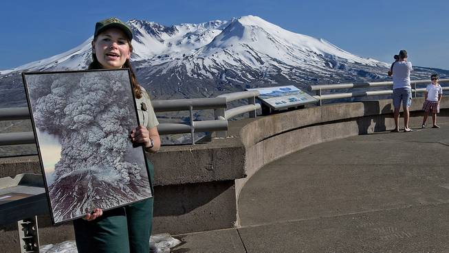 Sarah Phillips, of the Johnston Ridge Observatory at Mount St. Helen's, educates the public about the explosive eruptive past and the eruptive future of Washington's most famous volcano, May 13, 2014.