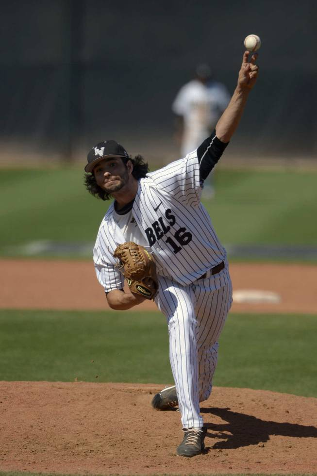 UNLV pitcher Brayden Torres throws against San Diego State in the Mountain West tournament championship on Sunday, May 25, 2014, at Earl E. Wilson Stadium.