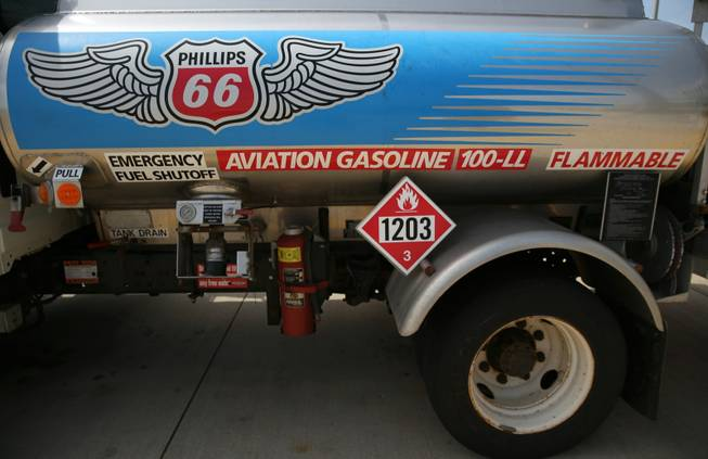 A truck carries leaded fueld around DuPage Airport in West Chicago, Ill., on May 9, 2014. Though not used in cars in the U.S., fuel containing lead is still used in some small, private aircraft.