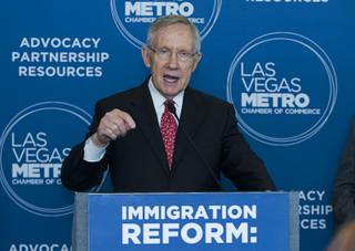 Senate Majority Leader Harry Reid (D-NV) calls for comprehensive immigration reform at the Las Vegas Metro Chamber of Commerce Tuesday, May 27, 2014.