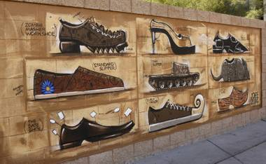 Joseph Watson's Zappos' campus shoe mural located on 4th St. and Stewart Ave. Tuesday, May 27, 2014.