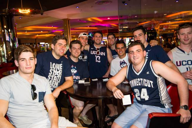 On Saturday, May 24, 2014, graduates of the University of Connecticut stopped by the Hard Rock Hotel Las Vegas to pick up their winnings: a total of $60,000. From left: Paul Delvecchio, Andrew Zielinski, John Mitkevicius, Tom Andreoli, Harrison Fuchs, Dan Stewart, Patrick Charmel, Marc Demattie, Dave Faenza and Michael Price at the Hard Rock sports book.