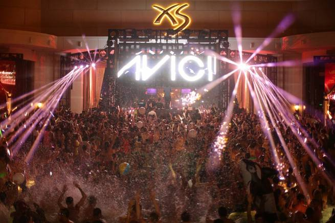 DJ Avicii performs for a record-size crowd at XS on Sunday, May 25, 2014, in Encore.