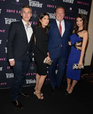 Conde Nast Traveler EVP and Publishing Director Bill Wackermann, Conde Nast Traveler Editor in Chief Pilar Guzman, The Cosmopolitan of Las Vegas CEO John Unwin and Emily Ratajkowski attend the Hot List party at Rose. Rabbit. Lie. on Thursday, May 15, 2014, in the Cosmopolitan of Las Vegas.