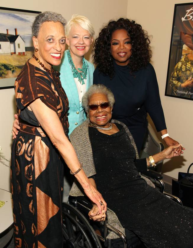 Left to right, Johnnetta Cole, director of the National Museum of African Art, Kim Sajet, director of the National Portrait Gallery, Maya Angelou and Oprah Winfrey pose for a photo backstage at Maya Angelou's portrait unveiling at the Smithsonian's National Portrait Gallery on Saturday, April 5, 2014 in Washington, DC.
