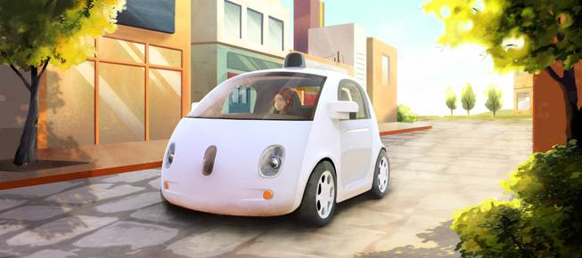 This image provided by Google shows an artistic rendering of the company's self-driving car. The two-seater won't be sold publicly, but Google on Tuesday, May 27, 2014, said it hopes by this time next year, 100 prototypes will be on public roads.