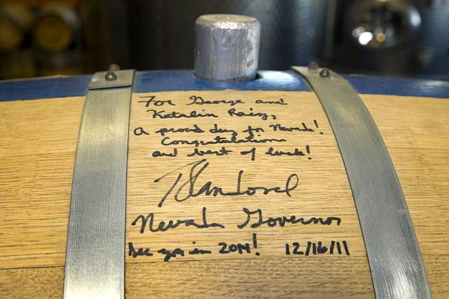 "The ""Governor's Barrel"" is shown at the Las Vegas Distillery in Henderson Thursday, May 29, 2014. Nevada Governor Brian Sandoval helped fill fill the barrel in 2011 and on Thursday filled the first bottle of ""Nevada 150"" bourbon whiskey, a bourbon created for the Nevada sesquicentennial."