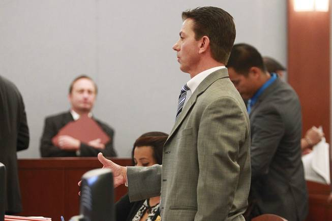 Chief Deputy District Attorney Robert Daskas speaks as Shavon Aguilar appears in court for her arraignment on charges of the attempted murder of her 11-year-old son Thursday, May 29, 2014. Aguilar is also known as Shavon Carrillo.