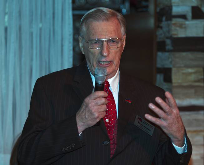 State Controller candidate Tom Jones introduces his platform to Libertarian party members and guests during a  meet and greet session at Hyde in the Bellagio on Thursday, May 29, 2014.