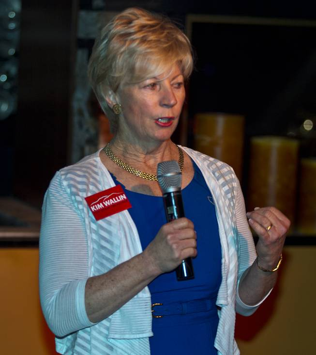 State Treasurer candidate Kim Wallin introduces her platform to Libertarian party members and guests during a  meet and greet session at Hyde in the Bellagio on Thursday, May 29, 2014.