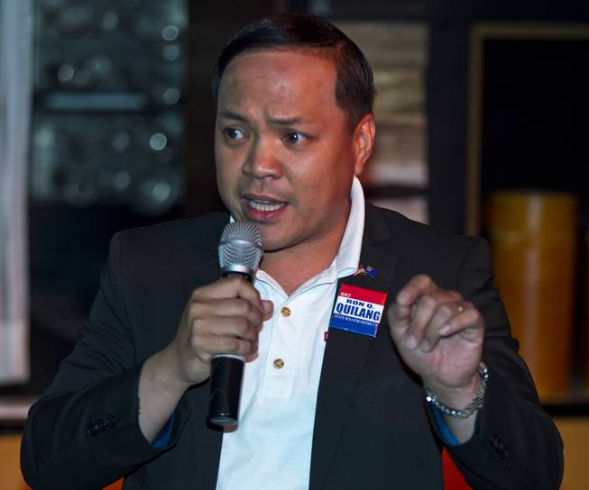 State Senate District 9 candidate Ron Quilang introduces his platform to Libertarian party members and guests during a meet and greet session at Hyde in the Bellagio on Thursday, May 29, 2014.