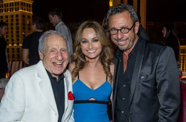 Mel Brooks, Giada De Laurentiis and Victor Drai attend Drai's Beach Club and Nightclub opening night Friday, May 23, 2014, atop the Cromwell in Las Vegas.