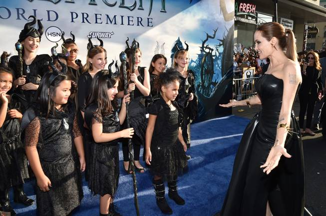 "Angelina Jolie arrives at the world premiere of ""Maleficent"" at the El Capitan Theatre on Wednesday, May 28, 2014, in Los Angeles."