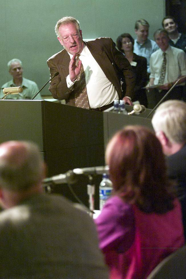 Mayor Oscar Goodan addresses representatives from the Department of Energy during the DoE's public hearing on the proposed Yucca Mountain Repository Sept. 5, 2001. Goodman vowed that Yucca Mountain would not be built while he was mayor.