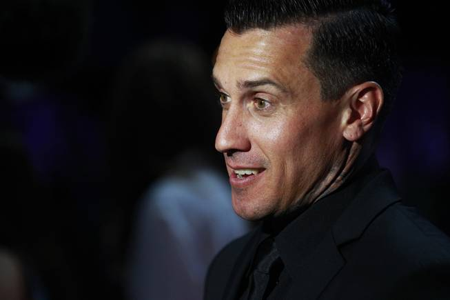 Carey Hart talks to the media during the induction for the Southern Nevada Sports Hall of Fame Friday, May 30, 2014.