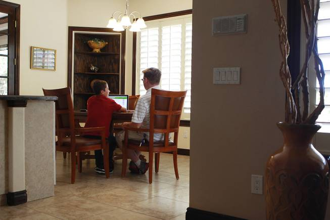 Tutor Michael Christenson uses an online program with Aidan Swenson during a tutoring session in the Swenson's home Saturday, May 31, 2014.