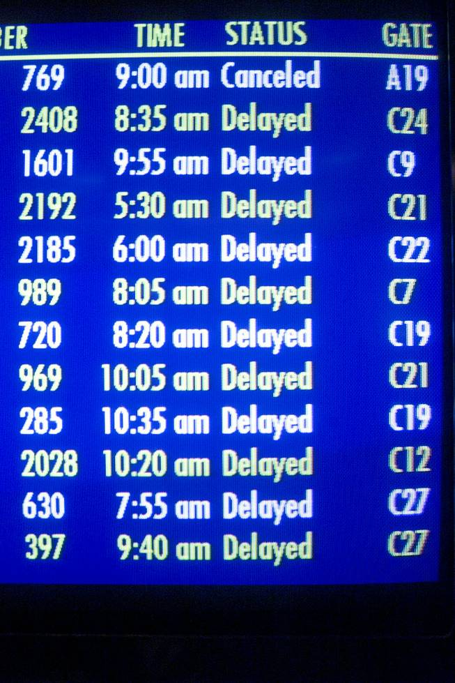 The arrival and departure monitors at McCarran International Airport indicate the halt in air travel Tuesday, Sept. 11, 2001.