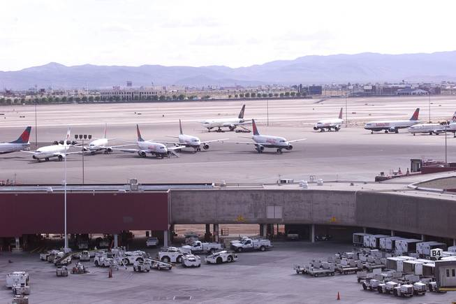 Aircraft are seen parked on the tarmac at McCarran International Airport after the suspension of all domestic air travel Tuesday, Sept. 11, 2001.