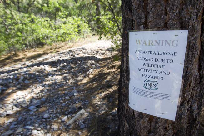 A sign lists a closure on Mt. Charleston Tuesday, May 27, 2014. Some areas and trails are still closed about one year after the Carpenter 1 Fire that scorched almost 28,000 acres in 2013.