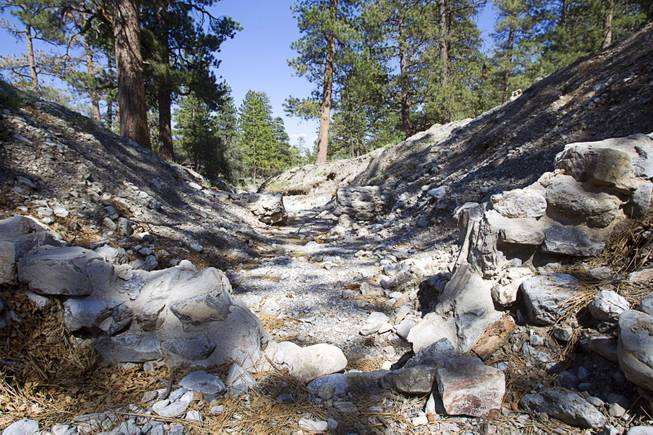 A view of a washed-out bridge by Forest Service administrative offices is shown on Mt. Charleston Tuesday, May 27, 2014. The bridge was destroyed by run-off after the Carpenter 1 Fire in 2013.