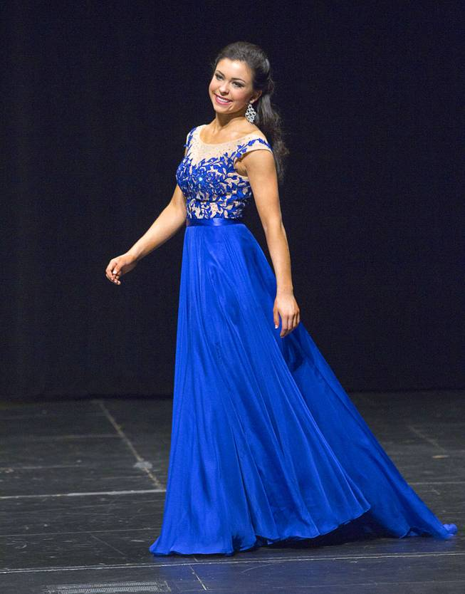 Amy Smith competes during the Miss Nevada Outstanding Teen at the Miss Nevada and Miss Nevada Outstanding Teen Pageant at the Las Vegas Academy Theater Sunday, June 1, 2014. Amy Smith was crowned 2014 Nevada Outstanding Teen. Her sister Ellie Smith was crowned 2014 Miss Nevada.