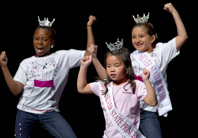 Analise Irving, 7, and other Silver State Princesses perform during the Miss Nevada and Miss Nevada Outstanding Teen Pageant at the Las Vegas Academy Theater Sunday, June 1, 2014.