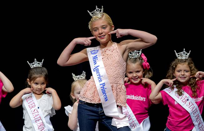 Lily Nelson, center, and Silver State Princesses perform during the Miss Nevada and Miss Nevada Outstanding Teen Pageant at the Las Vegas Academy Theater Sunday, June 1, 2014.