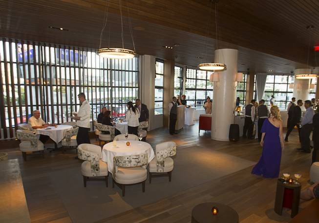 A view of a dining area during the VIP grand opening of Giada, the first Giada De Laurentiis restaurant, on Monday, June 2, 2014, in the Cromwell. The restaurant opens to the public Tuesday.