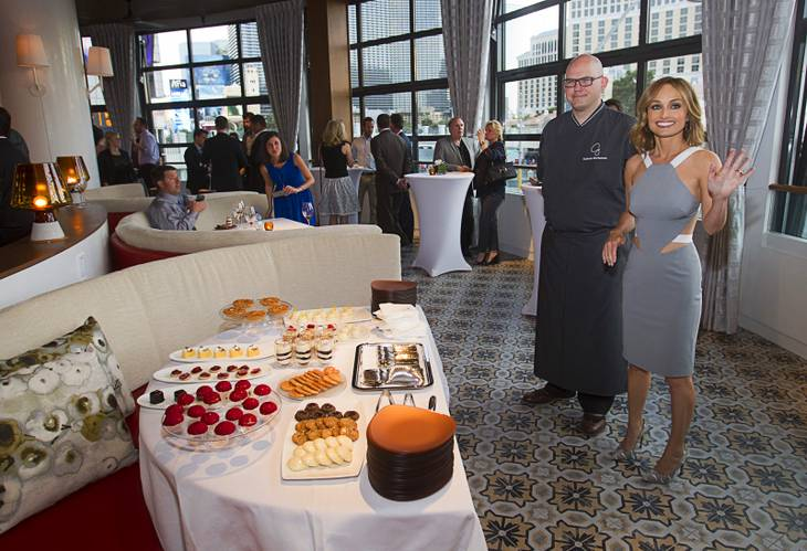 Celebrity chef Giada De Laurentiis with chef Kurtess Mortensen during the VIP grand opening of Giada, the first Giada De Laurentiis restaurant, on Monday, June 2, 2014, in the Cromwell. The restaurant opens to the public Tuesday.