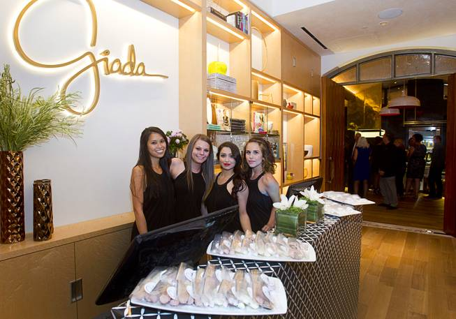 Hostesses during the VIP grand opening of Giada, the first Giada De Laurentiis restaurant, on Monday, June 2, 2014, in the Cromwell. The restaurant opens to the public Tuesday.