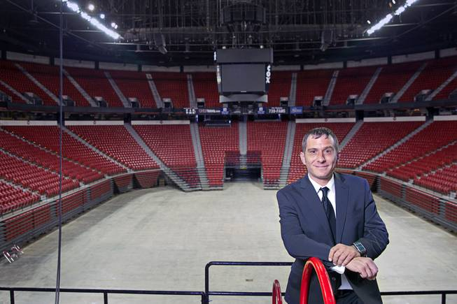 "Tuff-N-Uff CEO Jeff Meyer poses at the Thomas & Mack Center Tuesday, June 3, 2014. The amateur mixed martial arts organization will celebrate it's 20th anniversary with a free amateur fight card, ""Tuff N Uff: The Future Stars of Mixed Martial Arts,"" at the arena on Saturday, June 7."