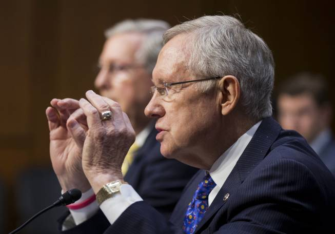 Senate Majority Leader Harry Reid of Nevada testifies on Capitol Hill on Tuesday, June 3, 2014.