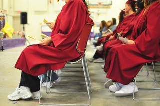 The Clark County School District recognized more than 70 inmates at the Florence McClure Women's Correctional Center who graduated from the district's adult education program with high school diplomas, GEDs and vocational certificates on Tuesday, June 3, 2014.