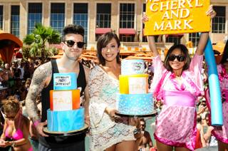 Mark Ballas and Cheryl Burke celebrate their birthdays at Tao Beach on Saturday, May 31, 2014, in the Venetian.