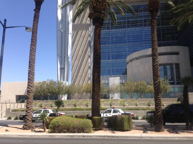 Metro Police cars parked outside U.S. District Court, 333 S. Las Vegas Blvd., while officials investigate a suspicious package on Tuesday June 3, 2014.