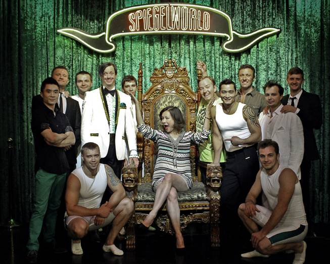 "Jennifer Tilly with cast members of ""Absinthe"" at Caesars Palace."