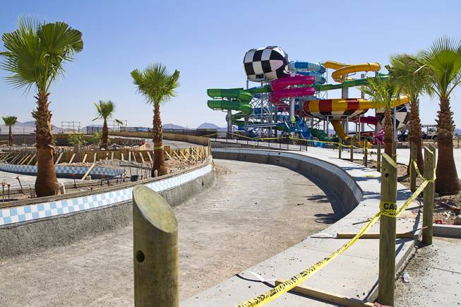 A view of the Cowabunga Bay water park under construction in Henderson Thursday, June 5, 2014. Developers announced that the water park will open July 4. The park includes a 32,000-square-foot wave pool, water slides and a 1,200-foot-long lazy river.