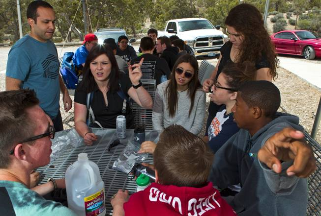 Campers and counselors gather to check their blood sugar and have a snack during Camp Vegas at Pitosi Pines sponsored by the Nevada Diabetes Association Tuesday, April 15, 2014.