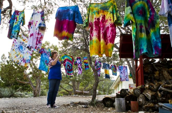 Pitosi Pines director Tracey Brown hangs the dye shirts for drying created by attendees from Camp Vegas sponsored by the Nevada Diabetes Association Tuesday, April 15, 2014.