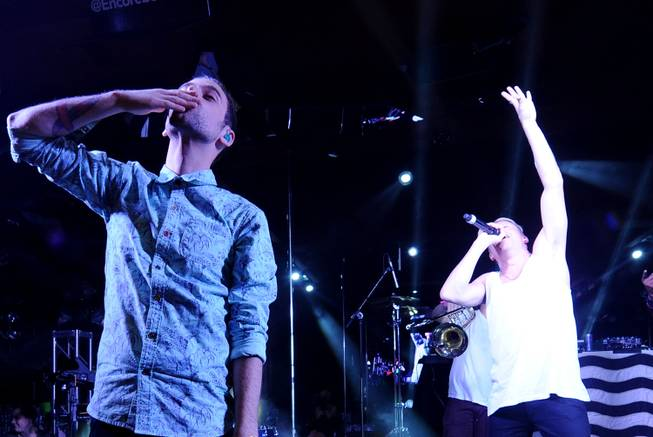 Ryan Lewis and Macklemore during Surrender and Encore Beach Club's fourth-anniversary celebration early Thursday, June 5, 2014, in Encore Las Vegas.