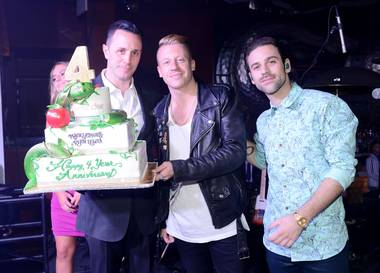 Sean Christie and Macklemore & Ryan Lewis attend Surrender and Encore Beach Club's fourth-anniversary celebration early Thursday, June 5, 2014, in Encore Las Vegas.