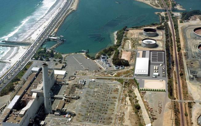 This image provided by the San Diego County Water Authority in 2012 shows an artist rendering of a proposed desalination plant, center right, superimposed over an aerial photograph, in Carlsbad, Calif. The proposed plant will be the Western Hemisphere's largest desalination plant.