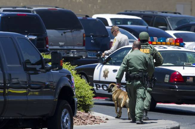 A Metro Police K-9 officer arrives a Wal-Mart on Nellis Boulevard on Sunday, June 8, 2014. Two suspects allegedly shot two Metro Police officers in a nearby pizza shop, then fled to the Wal-Mart, where they fired shots before killing themselves.