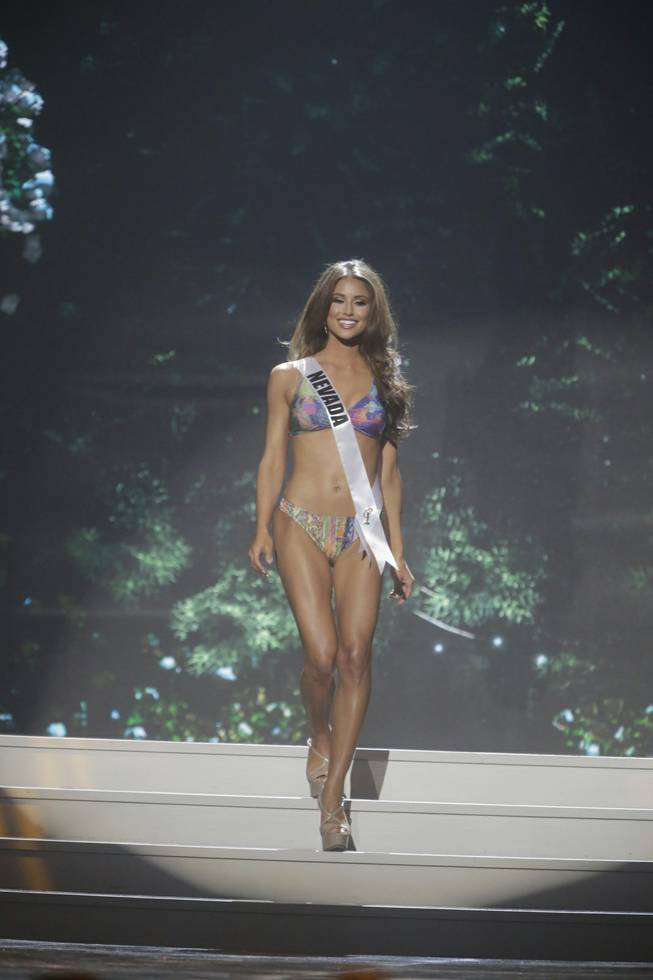 Miss Nevada USA Nia Sanchez participates in the swimsuit competition during the 2014 Miss USA preliminary competition in Baton Rouge, La., on Wednesday, June 4, 2014.