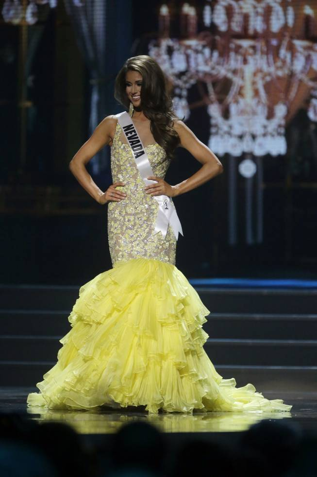 Miss Nevada USA Nia Sanchez participates in the evening gown competition during the 2014 Miss USA preliminary competition in Baton Rouge, La., on Wednesday, June 4, 2014.