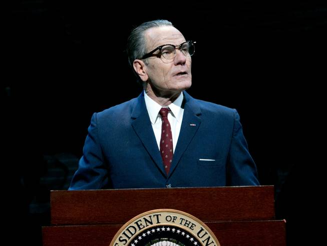 "This image released by Jeffrey Richards Associates shows Bryan Cranston portraying President Lyndon B. Johnson during a performance of Robert Schenkkan's ""All the Way."" Cranston, in a role far from TV's chemistry teacher-turned-meth kingpin Walter White, won the best lead actor in a play Tony for the performance."