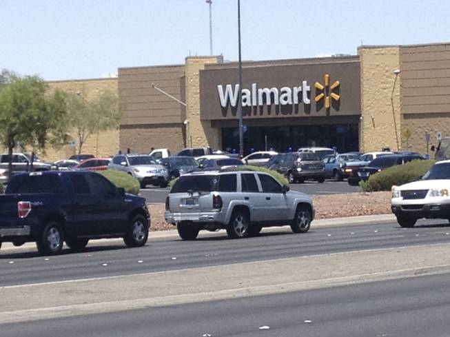 Two people suspected of shooting two Metro officers at Cici's Pizza, 309 N. Nellis Blvd., reportedly ran into this nearby Wal-Mart on Nellis Boulevard.