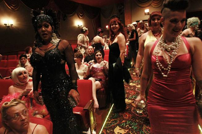 Attendees make their way to their seats during the 2014 Burlesque Hall of Fame's Tournament of Tease competition Saturday, June 7, 2014 at the Orleans.