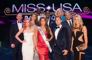 2014 Miss Nevada USA Nia Sanchez, with the pageant judges, is crowned 2014 Miss USA at the 2014 Miss USA Pageant at Baton Rouge River Center on Sunday, June 8, 2014, in Baton Rouge, La.