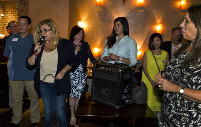 Assemblywoman Michele Fiore thanks the crowd for their support as she and other Republicans gather at Mundo restaurant on Monday, June 9, 2014.